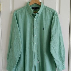 Ralph Lauren Polo Mens Shirt  Green Plaid 17 1/2